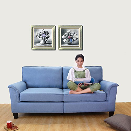 Italian Design Fabric Sectional Sofa (Mid Century Polyester Fabric Sofa , 77.5 inch 3 Seater with Removable - Washable Seat and Back Cushion (Blue))