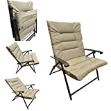 'Amaze' Folding Easy reclining household living room padded cushion chair-Beige
