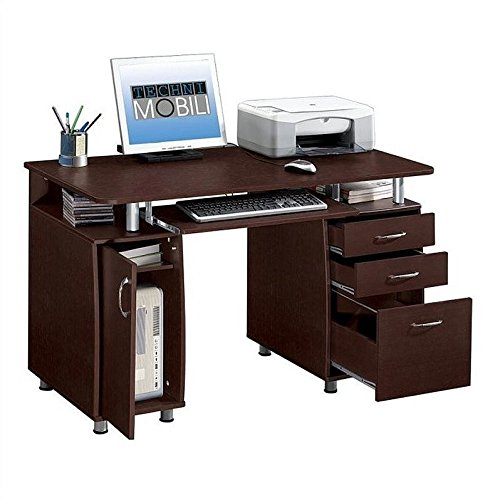 Trent Home Aya Super Storage Computer Desk in Chocolate