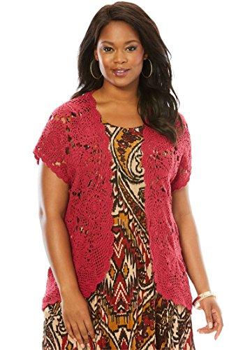 Women's Plus Size Medallion Crochet (Ruby Denim Sweater)