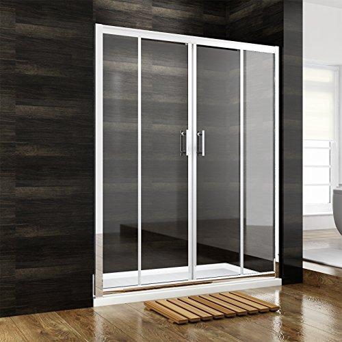 Duschkabine Rechteck Duschtrennwand Doppel Schiebetür ohne Seitenwand 160cm