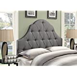 Pulaski Shaped Camel Back Button Tufted Upholstered Headboard, Ash, Full/Queen