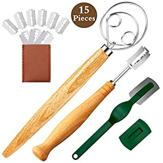 AOLIYO Danish Dough Whisk and Bread Lame Set with 15 Replaceable Blades, 2 Dough Scoring Knife Tools for Baker, Danish Dough Wisk for Baking Cake Pizza