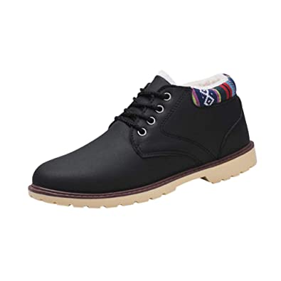 d3809683ff27 Deylaying Mens Man Autumn Winter Warm Shoes - Ankle Leather Lace UP Plush  Lined Flat Outdoor