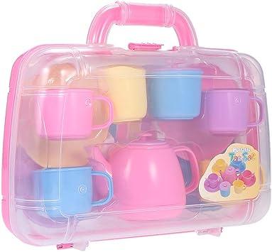 Walmeck- Juego de té portátil con Estuche de Colores Pastel, Juguetes de plástico para niños, niños: Amazon.es: Juguetes y juegos