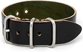 product image for DaLuca Shell Cordovan 1 Piece Military Watch Strap - Black (Matte Buckle) : 26mm