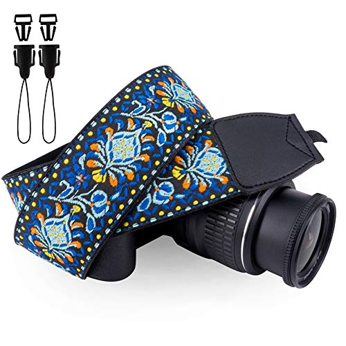 Wolven Vintage Jacquard Weave Camera Neck Shoulder Strap Belt Compatible for All DSLR/SLR/Digital Camera (DC)/Instant Camera/Polaroid etc, Blue Classic Floral