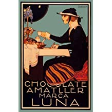 "Chocolate Amatller Luna Lady Tiffany Lamp Spain Spanish Coffee 20"" X 30"" Image Size Vintage Poster Reproduction"