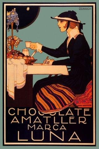Chocolate Amatller Luna Lady Drinking Tiffany Lamp Spain Spanish Coffee 16'' X 24'' Image Size Vintage Poster Reproduction by Heritage Posters