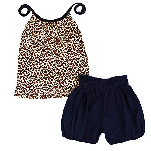 2pcs Toddler Baby Girls Tank Tops Leopard Backless Camisole Vest Blouse Sleeveless T Shirt+Shorts Pants Kid Summer Outfits Set(size90/2-3T) Brown]()