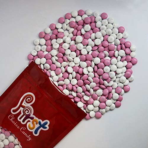 m&m's Light Pink & White Milk Chocolate m&m Candy 1 Pound Resealable Pouch Bag -