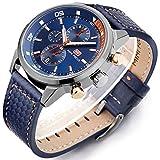 Minifocus Men's Quartz Watches Leather Straps Fashion Function Wristwatch Sapphire Blue