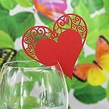 Generic 50pcs Papier Herz Weinglas Tischkarte Platzkarten für DIY Hochzeit Geburtstage Gastgeschenk Baby Dusche Dekor - Rot