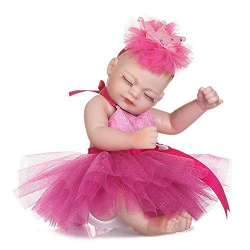 Npk Collection Minuscules Poupées Reborn Fille Pleine De Silicone Mini-poupée 27cm 11inch Enfants Baignade Poupée Robe En Dentelle Rose