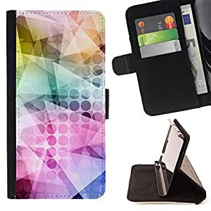 - Polygon Neon Colorful Pattern Art - Estilo PU billetera de cuero del soporte del tir???¡¯????n [solapa de cierre] Cubierta- For Samsung Galaxy S6 £š Devil Case £©