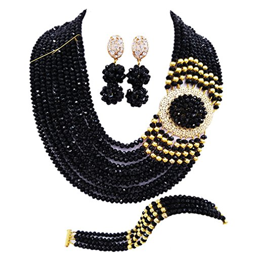 aczuv Crystal Royal Blue Beads Jewelry Set African Necklaces for Women Nigerian Wedding Jewelry Sets (Black)