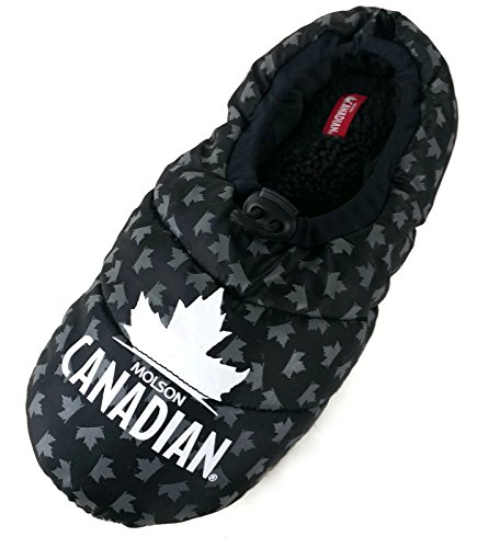 mens-molson-canadian-beer-sleeping-bag-slippers-9-10-black-plaid