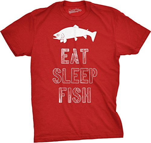 Crazy Dog TShirts - Mens Eat Sleep Fish T Shirt Funny Vintage Fishing Outdoors Tee (Red) S - herren - S