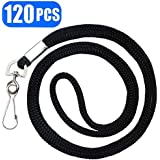 """Black Lanyards Premium Bulk Lanyards Round 34"""" with Swivel J Hook for ID Name Badge Holder, VIP, School, Kids, Coach, Conference, Festival and Hang Keys by BAITEER - 1 Year Warranty (120PCS)"""