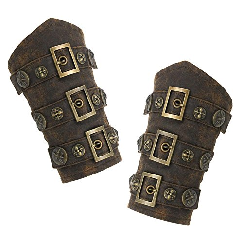 Largemouth Faux Leather Steampunk Armor Cuffs (One Size) -