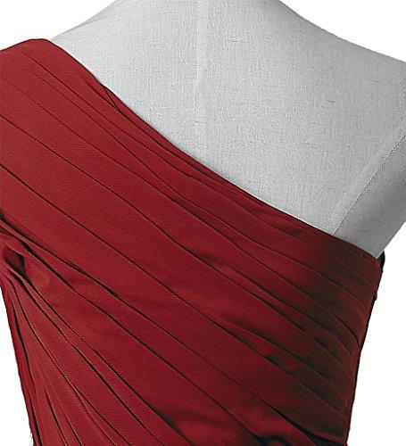 RohmBridal Womens Chiffon One Shoulder Prom Bridesmaid Dresses Burgundy 14