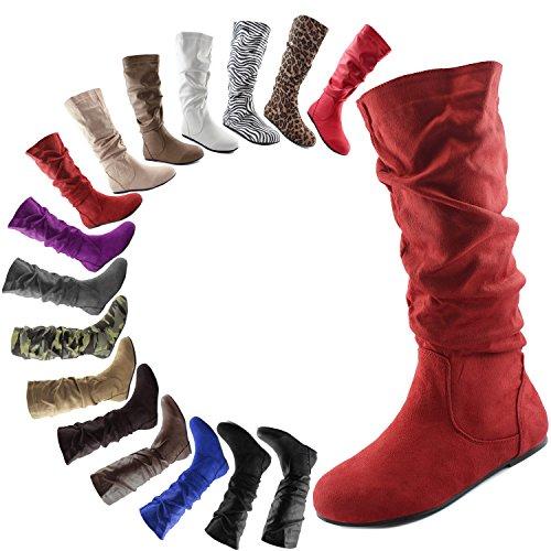 Dailyshoes Damesschoenen Met Mid Kalfssluiting Slouch Suède Comfortabele Rode Seude-laarzen