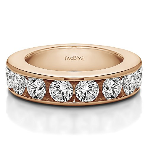 0.1Ct 10 Stone Open Ended Channel Set Wedding ring 18k Rose Gold White Sapphire(Size 3 to 15 1/4 Sizes)