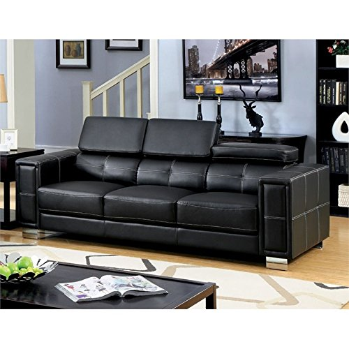 Furniture of America Arthur Adjustable Leather Sofa in Black