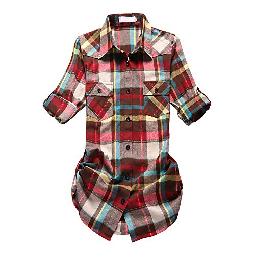 (Women's Mid-Long Roll Up Sleeve Plaid Flannel Shirt G011 Rainbow Size M)
