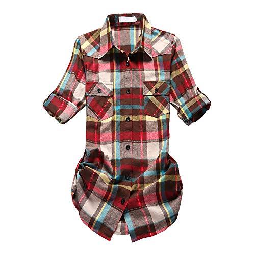 Rainbow Dresses Womens Clothing Belt (Women's Mid-Long Roll Up Sleeve Plaid Flannel Shirt G011 Rainbow Size XS)