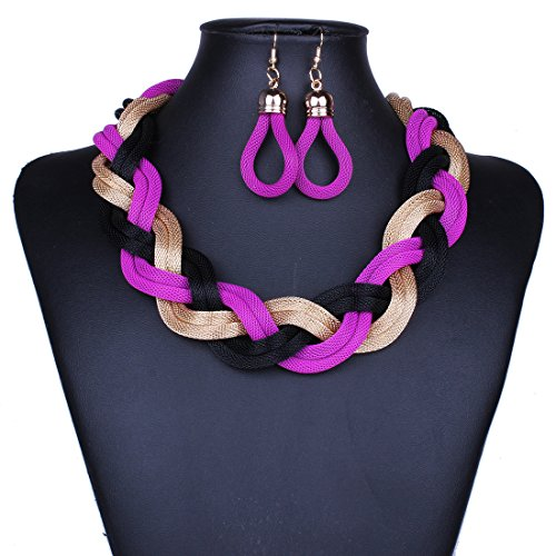 SDLM Fashion Bright Knit Rope Chunky Choker Charm Necklace dangle Earrings Jewelry - Quality Bicycle Products Online Catalog
