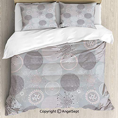 Dinette Set Pastel - SfeatruAngel Bedding 3-Piece Set Duvet Cover Set,Circular Round Soft Pastel Toned Lilac Flower Pattern Artistic Design,Full Size,Soft Microfiber Wrinkle Fade,Purplegrey Light Pink