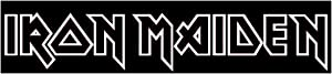 Iron Maiden Decal Sticker, H 1.25 By L 8.5 Inches, White, Black, Yellow, Silver, or Blue