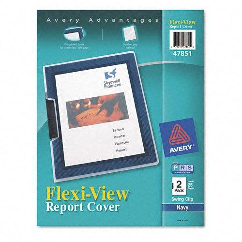 Avery Flexi-View Cover, Swing Clip, Holds 25 Pages, Letter Size, Clear/Navy, Two per Pack (47851)