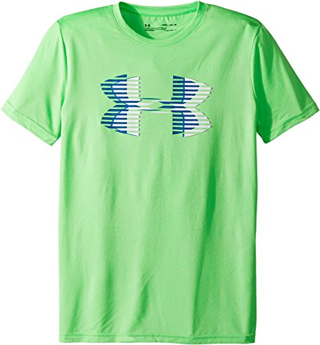 Under Armour Boys' Tech Big Logo Solid T-Shirt, Arena Green (701)/Moroccan Blue, Youth Medium