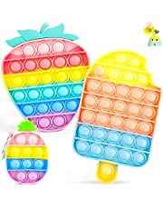 IDJWVU Pop Fidget Toy,Push Bubble Popper Sensory Toy,Pop on It Bulk Fidget Pack Autism Stress Reliever Squeeze Vent Restore Emotion Anxiety Relief for Kid Adult(Rainbow Ice Cream+Strawberry+Pineapple)