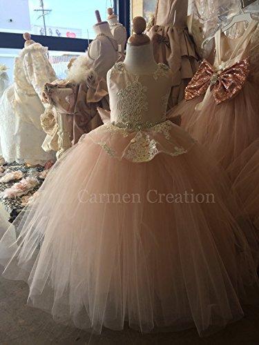 Peplum Flower Girl Dress Blush Pink by Carmen Creation