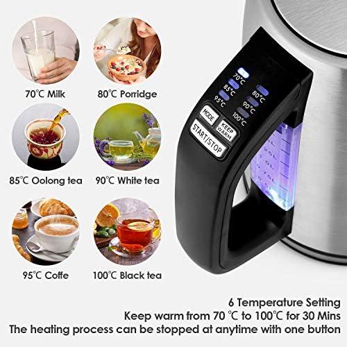 amzdeal Bouilloire Électrique Thermostat Réglable-1.7L 2000W Ébullition Rapide et 6 Températures Préréglées, Bouilloire Électrique avec Arrêt Auto, Niveau Eau Visible et Maintien au Chaud, sans BPA
