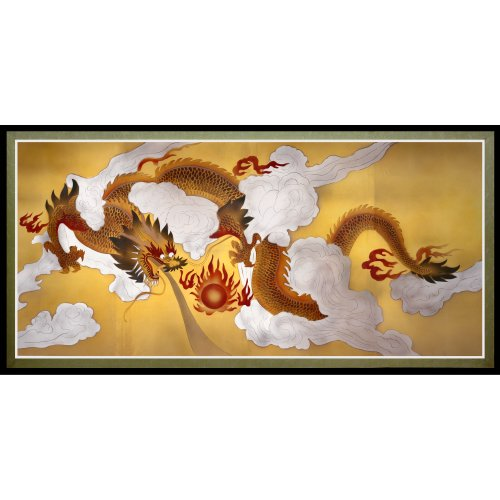 Oriental Furniture Dragons in the Sky Canvas Wall Art
