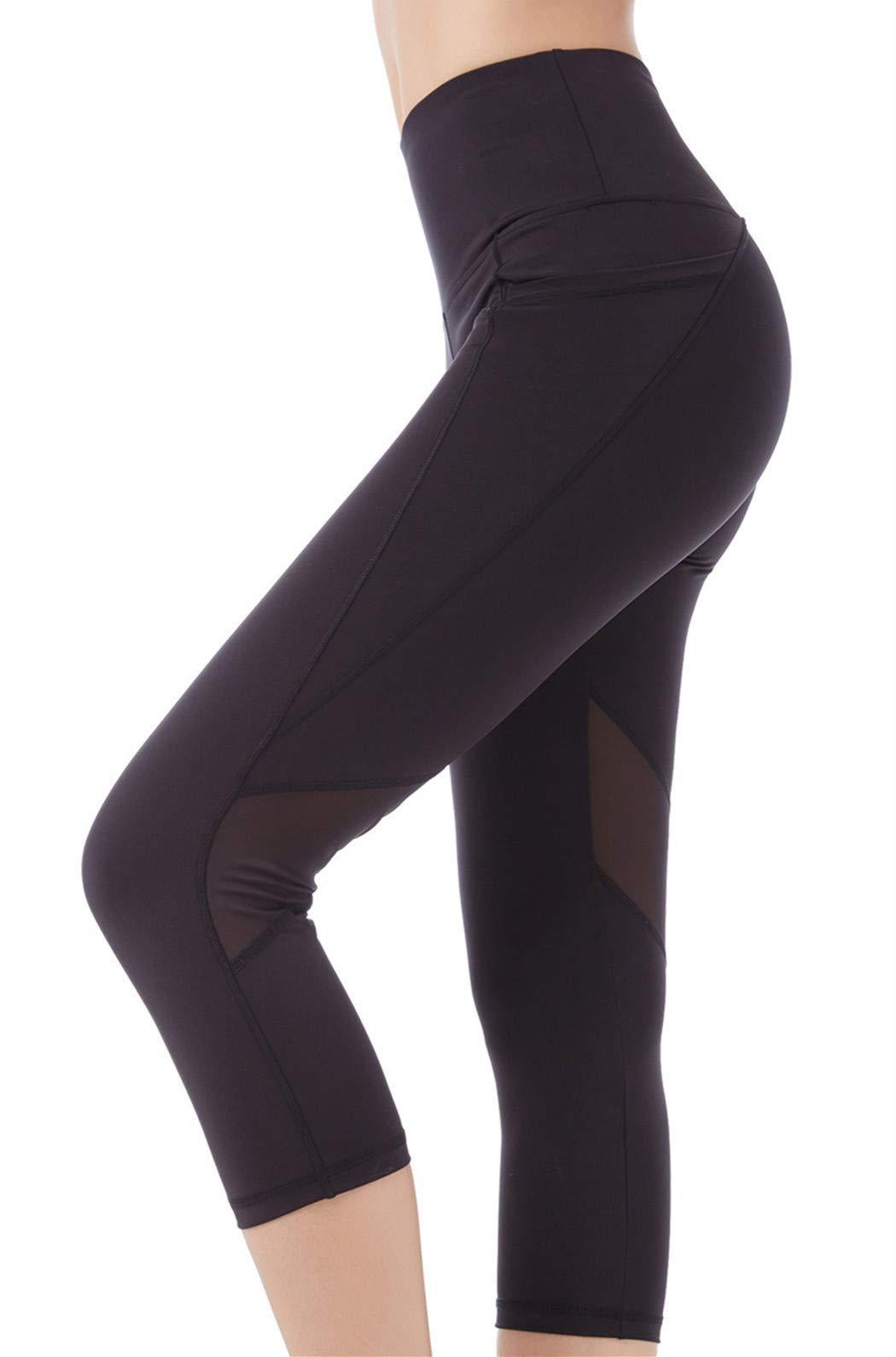 Picotee Women's Yoga Pants Workout Capri Leggings Running Tights w Side Pocket (Large, Black-Mesh)