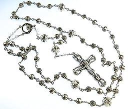 Catholic Rosary, Lutheran Rosary, Christian Gifts, Religious, Handmade Unbreakable,Wedding, Silver Tone Rose Shape Beads Swarovski Rhinestone Beads