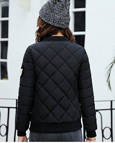 Generic Full Women's Winter Jacket Down Padded Bomber Black Zipper gZgrnw6