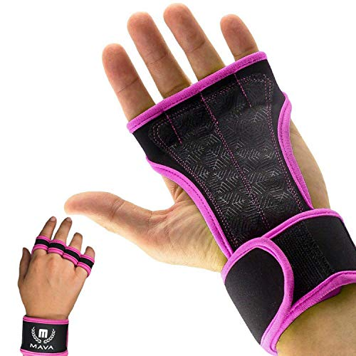 Mava Sports Grip Gloves, Leather Padding Grip, Gym Wrist Support - Gym Hand Grip for Weight Lifting with Support for Wrists - Best Training Grip Sports Gloves for Athletes-for Mans & Womans