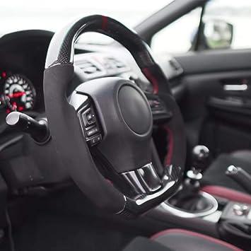 volante de carro perforado con marco de cuero perforado y bocina KIMISS Volante de aluminio universal para autom/óvil 350mm//14in rojo