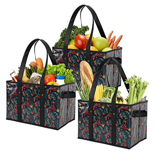 Foraineam 3 Pack Reusable Grocery Bags Heavy Duty Grocery Totes Bag Shopping Box Bags Collapsible Grocery Boxes with…