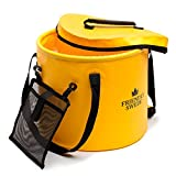 Collapsible Bucket for Camping, Travel and Gardening - Portable Folding Wash Basin Water Container Pail, with Lid and Handy Tool Mesh Pocket - by The Friendly Swede