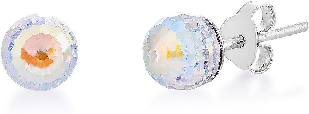 DTP Silver – Pendientes de plata con Cierre de pasador - Forma de Esfera/Bola - Plata 925 con Colgante de Cristal Swarovski Diámetro 8 mm - Colores diferentes