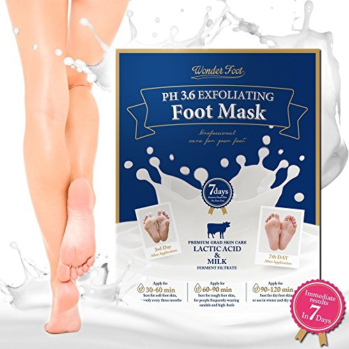 WonderFoot Exfoliating Foot Peel Mask - For Smooth Feet, Dry Dead Skin Treatment w/Lactic Acid & Milk (PH3.6) - Moisturize, Repair, Whitening & Rejuvenate Your foot In 7 Days - 40ml/1.5 oz - 2 Pair (Best Skin Whitening Products In Asia)