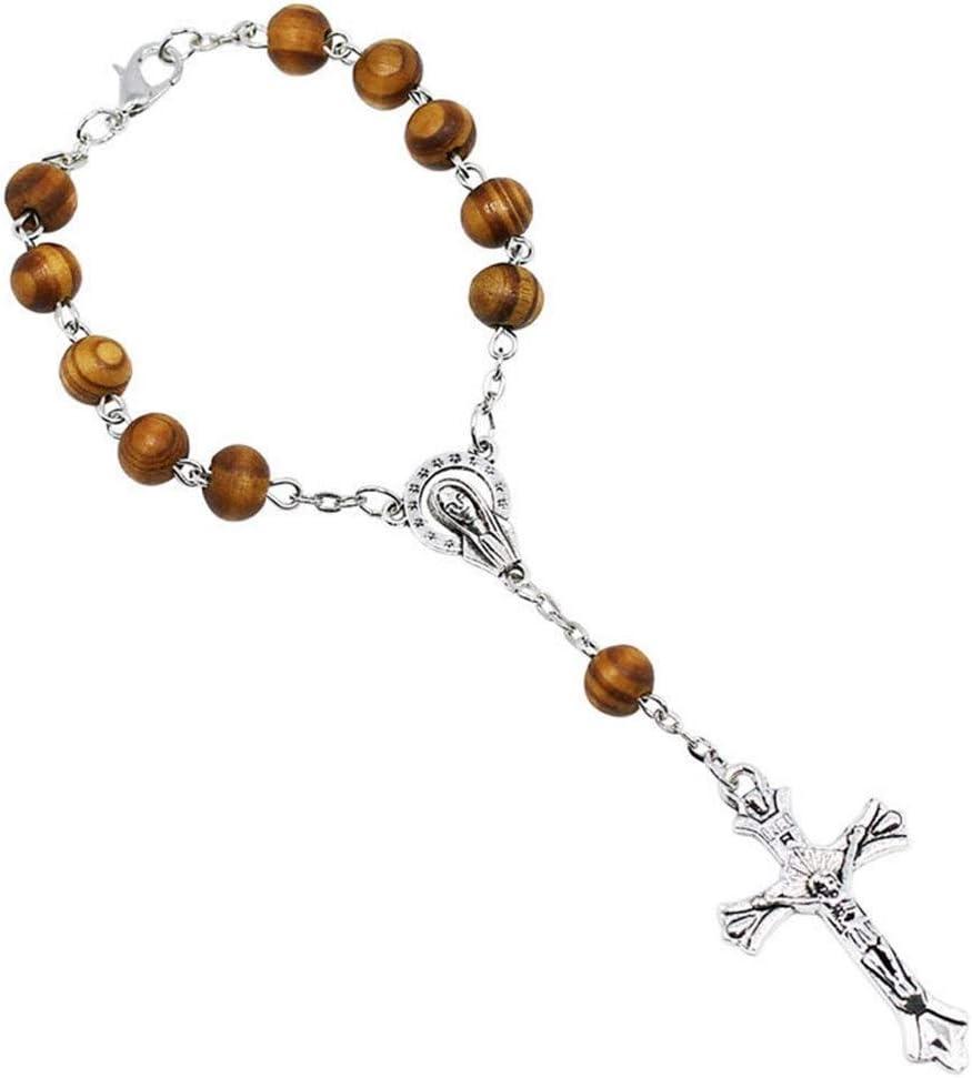 NOBRAND La señora se complementó con una Pulsera Rosario católico y una Pulsera de Perlas de imitación crucifijo Blanco Compromiso (Color : 66004603)
