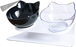 Luck Dawn Double Dog Cat Bowls with Raised Stand, 15 Degree Tilted Design Neck Guard Stand Raised Pet Food Water Feeder Bowl for Cats or Small Dogs